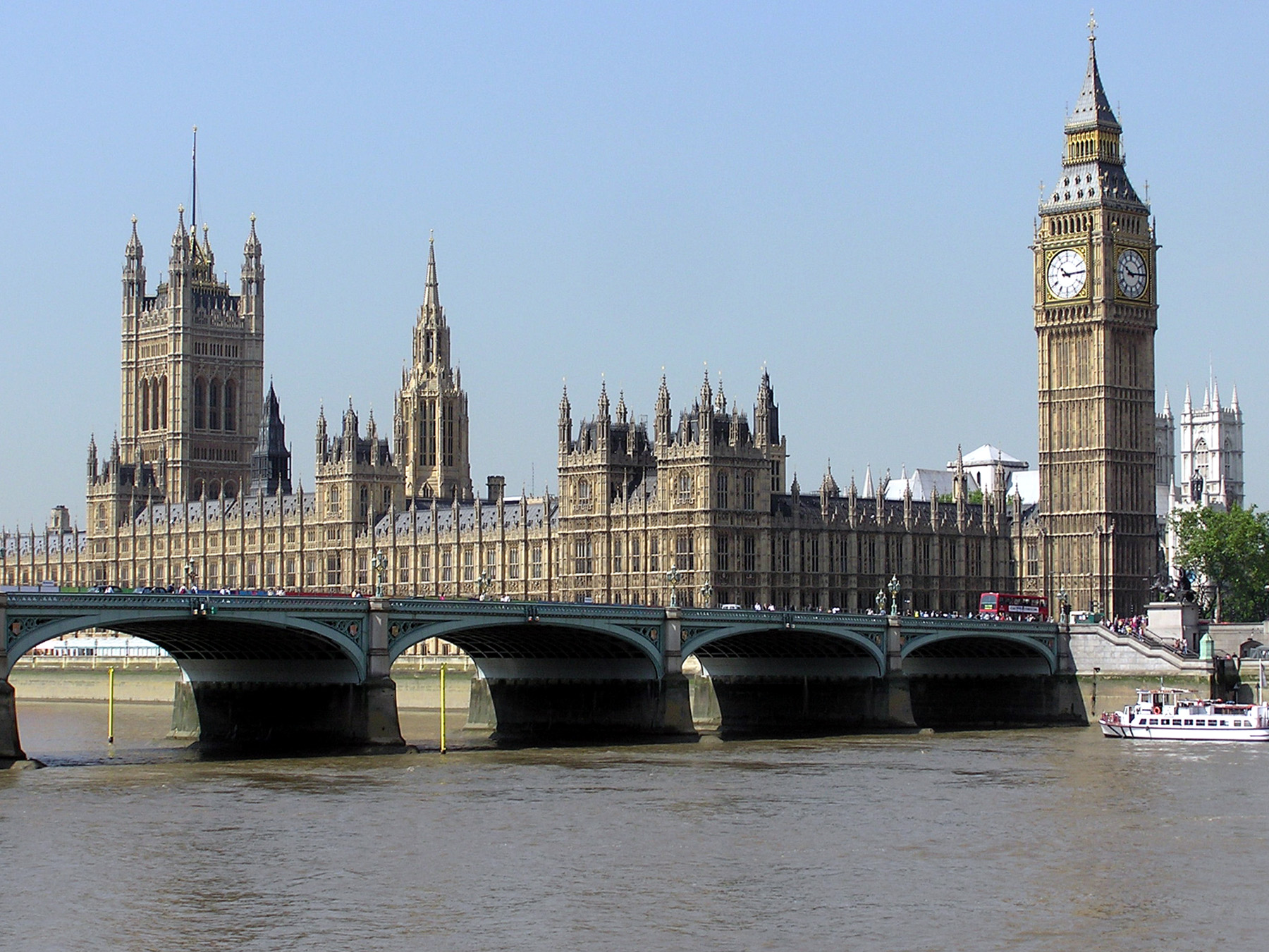 The Houses of Parliament, seen across Westminster Bridge